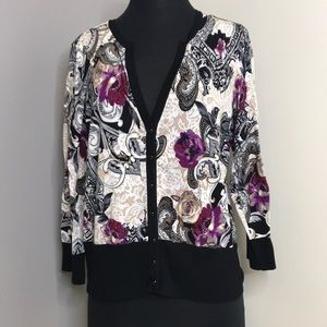 WHBM Purple& Cream Sweater with Buttons